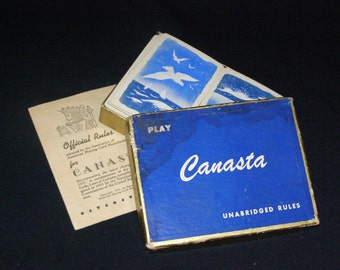 Vintage Canasta Set Playing Cards In Box USA Set 1950's Official Rules
