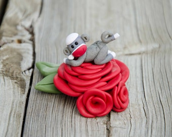 Bed of Roses Miniature Sock Monkey, Polymer Clay by Creative Contours