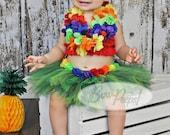 Hawaiian TUTU and Headband luau party photo prop baby girls birthday Toddler Birthday Costume Halloween