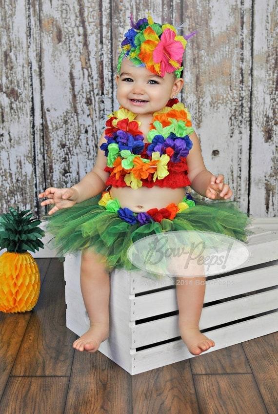 Items Similar To Hawaiian Tutu And Headband Luau Party Photo Prop Baby Girls Birthday Toddler
