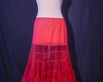 Vintage Cow Boy style red tulle under skirt from the 1980s
