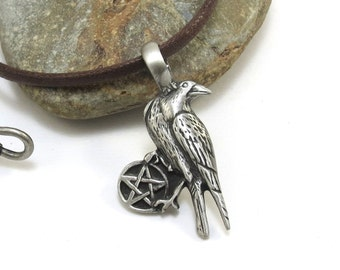 Pentagram Necklace - Raven Necklace with Pentacle, Pagan Jewelry - Crow Pendant