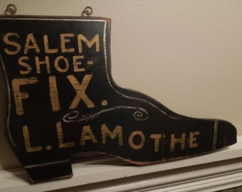 Shoe Repair sign/hand painted sign/vintage style sign/hand crafted/wooden sign/late 19th centurysign/ reproduction sign/boot sign/farmhouse