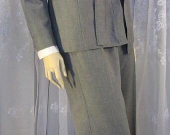 Vintage 90's women's Ann Taylor stretch travel grey pants suit size 8P