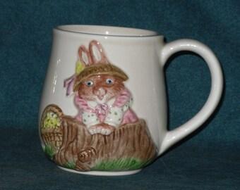 Bunny Rabbit Mug Otagiri Woodbriar Cove Japan Easter Spring