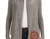 Thumb Hole Sweater Yoga Wrap OM Custom Yoga Hand Screen Printed, Yoga Clothing, Yoga Sweater
