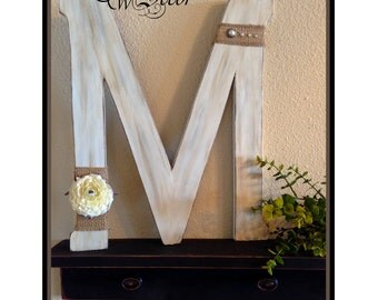 Wedding Letter - Monogram Wooden - Distressed Wood Letter - Decorated Letter - Bridesmaid Gifts - Wedding Gift - Choose your own letter