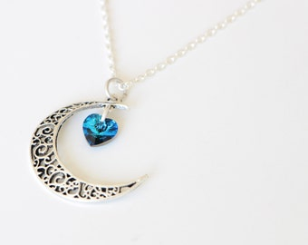 Silver Crescent Moon Necklace, Silver Moon Necklace, Heart of the Ocean Necklace, Siren Necklace, Crystal Mermaid Heart Choker Necklace