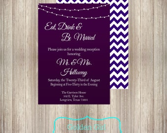 Chevron Wedding Reception Invitation With Lights Only Printed Or