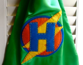 Superhero Cape- PERSONALIZED GREEN Boys Superhero Cape - Choose the Initial - Superhero Birthday Party