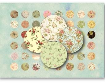 Digital Images - Digital Collage Sheet Download - Vintage Floral 1 inch Circle -  17   for Jewelry Pendants - Instant Download Printables