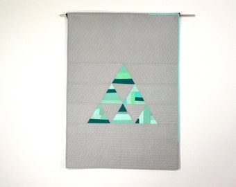 Triangle Baby Quilt, Modern Quilt, Wall Hanging, Geometric Baby Quilt, Gray Quilt, Aqua Baby Bedding