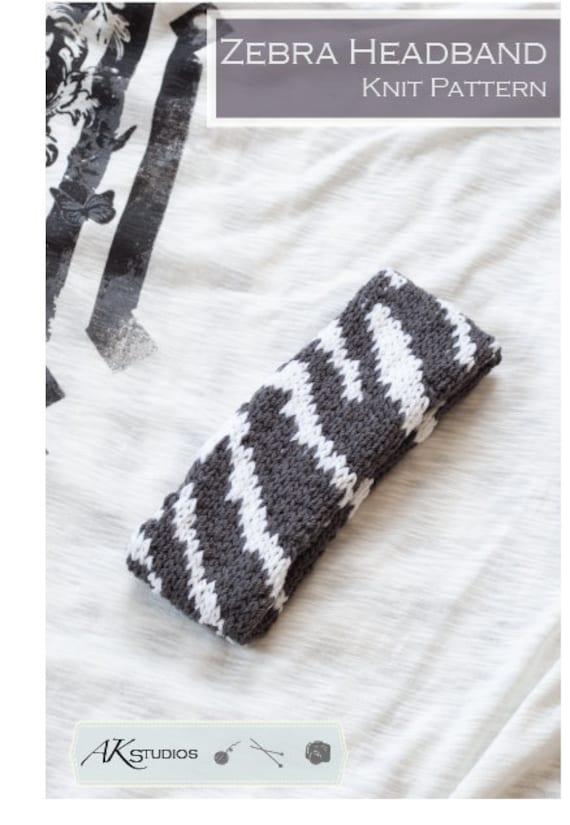 Knitting PATTERN Zebra Stripe Headband