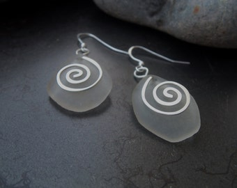Sea glass jewelry,  Frosted white sea glass with sterling silver swirls