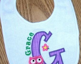 Baby Girl Bib Owl Monogrammed Personalized