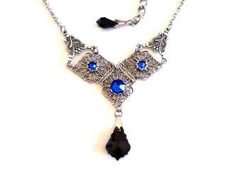 Victorian Gothic Filigree Necklace with Black & Blue Swarovski Crystals Victorian Gothic Jewelry