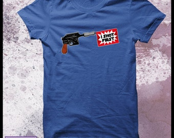 Star Wars tshirt men's - Han solo t-shirt - blaster - who shot first