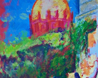 """Original painting art of church in San Miguel Mexico Colonial town architecture wall decor for restaurant acrylic on paper  19.5""""x 25.5"""""""