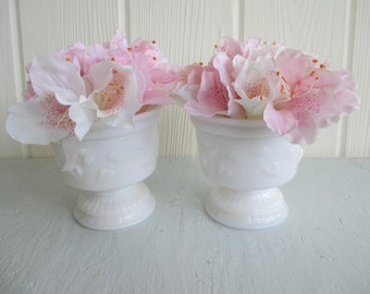 2 Small Milk Glass Compotes or Planters / Wedding Flower French Country Cottage Shabby Chic Farmhouse Coastal Decor