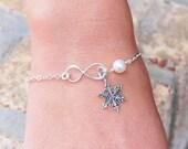 Snowflake Bracelet - Sterling Silver Pearl Infinity Bracelet - Choose Your Color Swarovski Pearl - Winter Bridesmaid Bracelet - Wedding