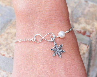 Snowflake Bracelet Sterling Silver Infinity Bracelet - Choose Your Color Pearl - Winter Bridesmaids Bracelet - Winter Wedding Jewelry