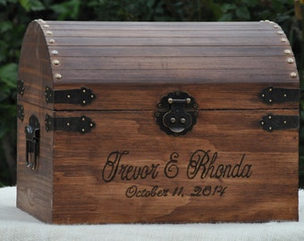 Large Rustic Wedding Card Box with Card Slot -Treasure Chest - Country Chic - Farm Wedding