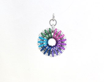 Chain Maille Pendant, Round Pendant, Jump Ring Jewelry, Multicolor Jewelry, Aluminum Pendant