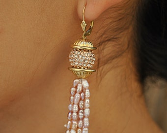 HANDMADE DANGLING PEARL earrings