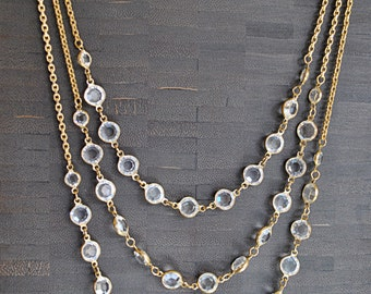 VINTAGE SWAROVSKY CRYSTAL  3 strands necklace............