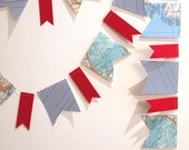 vintage maps, red, navy blue and white stripy pennant garland
