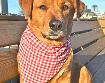 No tie dog bandana - Picnic table cloth - Goes over collar - red and white checkered - Small Medium Large