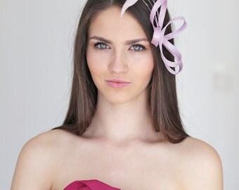 Lila feathers headpiece, lila fascinator, bridesmaid headpiece