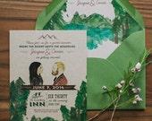 Watercolor Mountain Wedding invitation: Custom Watercolor Illustrations