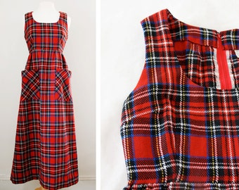 Vintage 1970s Red Plaid Maxi Dress - Tartan Print Dress - Size Medium