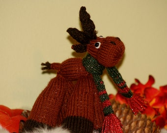 Knit Moose Doll with Scarf - Knitted Winter Moose and Christmas scarf