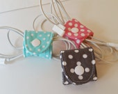 Set of 3 design your own Adjustable Cord Wraps,Electronic Cord Wrappers, Cord Organizer, Cord Keeper- Pink and White Polka Dot - Custom Made