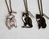 Custom Pet Necklace, Hand Drawn Pet Portrait, Wearable Art, Pet Charm, Shrink Plastic Jewelry,