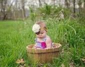 Cream & Gold Glitter Headband -  Baby Photo Prop - Newborn Infant Baby Toddler Girls Adult Ivory Flower Girl Wedding