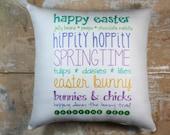 Easter Pillow, Easter Decor, Bunny, Spring,Subway Art, Cottage Decor, Holiday Decor