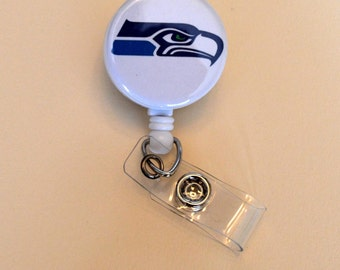 White Seahawks Button Badge Reel