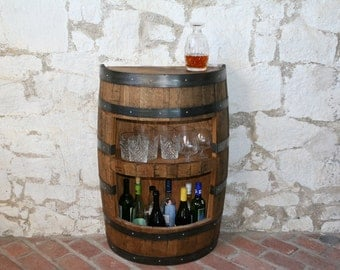 Whiskey Cabinet In A Whiskey Barrel
