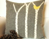 Decorative Throw Pillow, Birch Tree Pillow,  Rustic Cabin Pillow, Gray Pillow, Yellow, Red, Blue Bird, 16 Inch Square