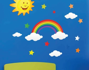 Rainbow Sun Star Cloud Wall Stickers Kid children Nursery Wall Decals