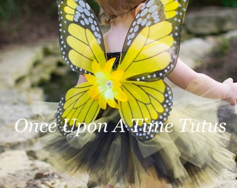 Yellow Monarch Butterfly Wings - Lily Flower Embellished - Butterfly Costume - Fairy Halloween Costume - Wearable Birthday Party Favor