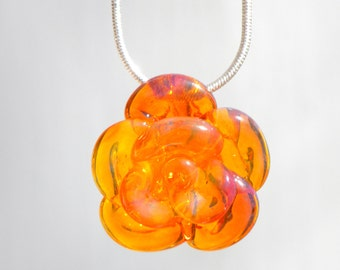 Rose Necklace Glass, Hand Blown Lampwork Flower Pendant, Yellow Orange Glass Rose