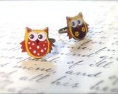 Cute Owl Ring. Adjustable Brass Ring Base. Under 5 Dollars Gifts. Woodland. Nature. Brown. Tan. Yellow. Wood Rings. Kawaii. Whimsical Bird.