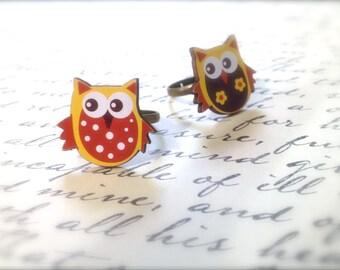 Cute Owl Ring. Adjustable Brass Ring Base. Under 5 Dollars Gifts. Woodland. Nature. Brown. Tan. Yellow. Wood Rings. Kawaii. Whimsical Bird.