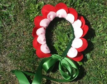 Flower Headpiece - Red Felt - Flower Costume - Flower Crown -Alice in Wonderland - Flower Fairy