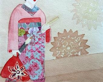 Kyoto Japan Geisha Original Watercolor/Mixed Media Painting by Theresa Smith 8x10