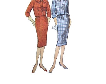 Jackie O Dress 60s Sewing Pattern Simplicity Mad Men Style Fashion Casual Business Suit Slim Skirt Bolero Jacket Buckle Coat Retro Bust 32